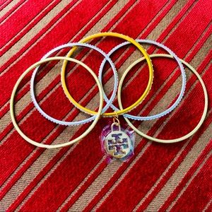 🔴💚🍃NEW TORY BURCH CHARM W 5 GOLD SILVER BANGLES